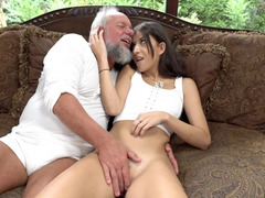 Adorable girl Anya Krey keenly enjoys hard banging with old man