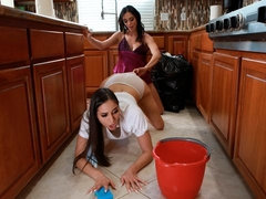 Two horny angels Ariella Ferrera and Desiree Dulce are fucking in the kitchen