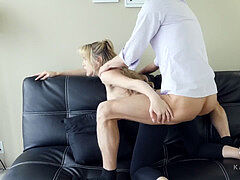 fuckin' Her father FINALLY! Katie Banks ripped spandex face splooged