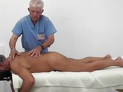 Two old guys massage and fuck on the table