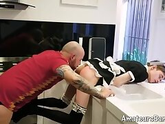 Twink maid with glasses fucked by bald daddy in kitchen