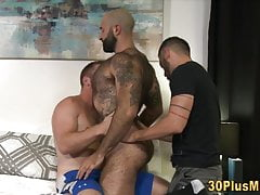 Hairy bear in threesome with muscled dudes