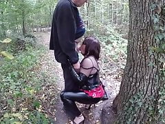 Mature slut fucked in the woods