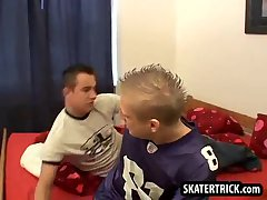Skater gets whipped and spanked by two studs