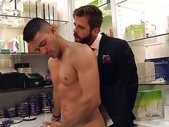Gay shop boy takes bosses cock at the office