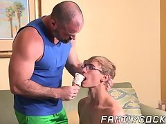 Teenage stepson deepthroats before hunk bareback