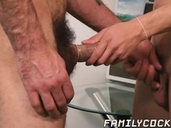 Cute stepson cums from his stepdads raw cock in his ass