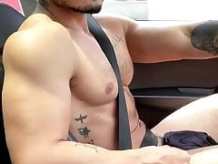 Naked handsome in the car