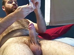 Very hairy young bear on webcam