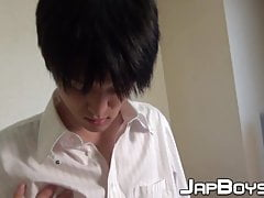 Japanese twink pulls his throbbing dick out to masturbate