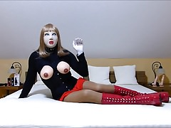 Rubberdoll Monique - slutty crossdresser with female mask