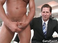 Sexy hunk blows giant black gay jizzster