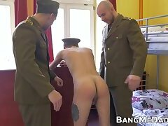 Skinny redhead twink soldier has bareback sex with his boys