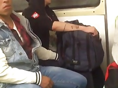 Jerks off in train