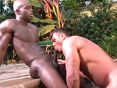 Peeping, gay underwater cumshot, dark-hued