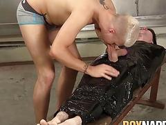 Dominant young man wraps sub up and rides his big dick