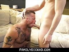 Hunk Step Dad Big Muscles And Tattoos Fucked By Step Dad