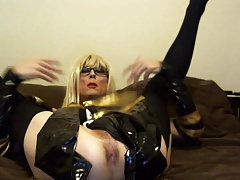 Sexy Tasha Blond Stewardess Crossdresser Showing Ass
