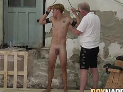 Twink sucked and whipped hard by master