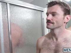 Muscle guys Alex Mecum and Dennis West have sex in bathroom