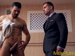 Pair of businessmen fuck inside of a hot pool together