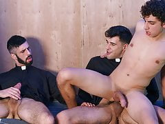 Young Catholic Latino Altar Boy Threesome With Two Priests