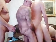 Four mature men fucking