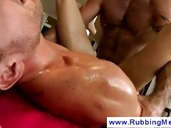 Client takes a gay masseurs cock deep