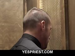 Priest licks church boy's ass and fucks him during confession