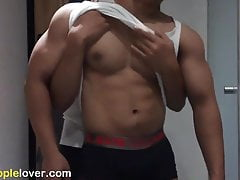 Hot Muscle Asian guy worship and nipple play session