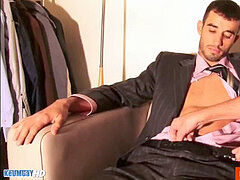 suite trouser guy get drained by four hands (4 hands rubdown and wank)