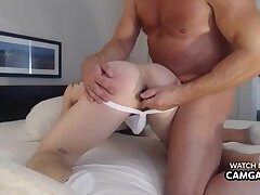 Mature fucks him and puts dildos in his anus