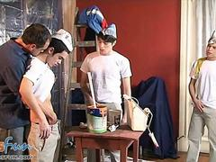 cute boys and a daddy make a heated painting orgy feature