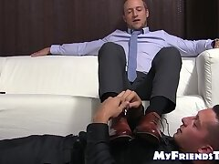 Handsome amateur Kenny makes his slave friend lick his feet