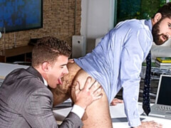 Thirsty dudes Tegan Zayne and JJ Knight fuck at the office