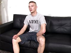 Straight Army Teen Boy Jerks Cock While Watching Porn