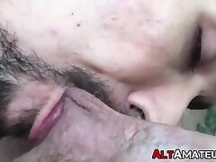 Handsome alt stud licking cock and balls in POV