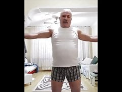 Moustached Turkish Daddy Bear Working Out