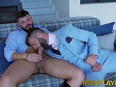 Hardcore fucking with two office dudes wearing a suit each
