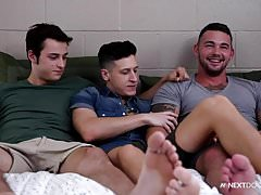 NextDoorBuddies College First Timer GETS 2 BAREBACK DICKS