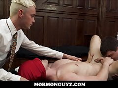 Two Mormon Twink Boys Fuck Masked Stranger Twink Threesome