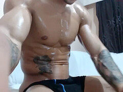 uber-sexy muscle boy Danny's oil demonstrate and cum