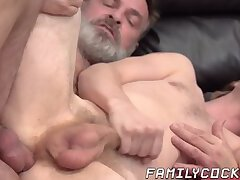 Stepdad massages stepson in return for bareback fucking