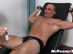Mature hunk Sebastian tied up and tickle tormented by dom
