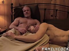 Raw cock sucking action in forbidden gay sex stepfamily shag