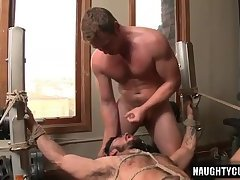 Big dick gay bound with facial