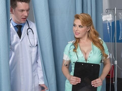 Awesome redhead nurse Penny Pax is enjoying anal sex in the ward