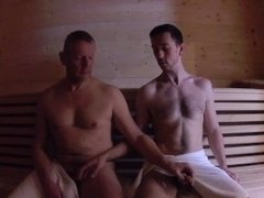 Older Younger - Daddy Fucks Boy Bareback in Sauna