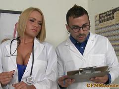 Uniformed nurses dominate cocks in office