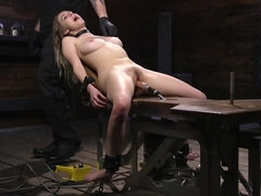Helpless teen roughly dominated by mysterious guy and his toys